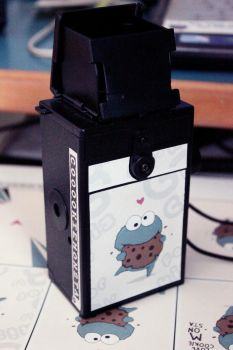 Cookie monster twin reflex camera by injuryordeath