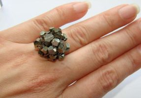 Pyrite cluster wired ring by CrysallisCreations