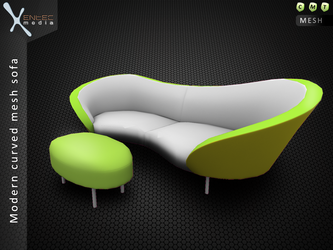 Modern curved 3D sofa - Secondlife item release by EntecMedia