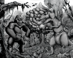 King Kong vs the T-Rex - Greyscale by hawanja