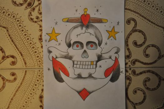 sailor jerry skull in color by DeviantYannick