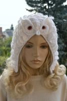 Crocheted white cap Snowy Owl by dosiak
