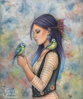 Girl with Birds by wasteddreams