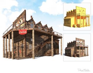 Western Hotel Low Poly by Cerebrate