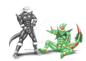 Trapping in Suit : Aggron and Mega-Sceptile by St-Alpha