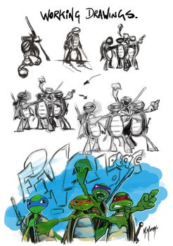 Turtles working drawing by ikkydikky