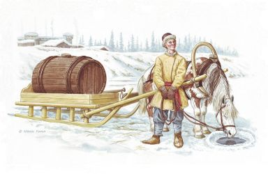 A sled with a water barrel. by Nikkolainen