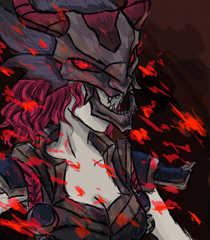 FAILED FEMALE VERSION OF THRESH BLOOD MOON SKIN by PANDAKUNstudios