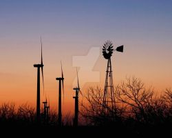 Old and New Wind Mills by BelleTx
