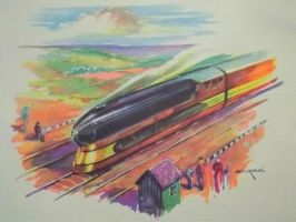Otto Kuhler Railroad Art - Steam Streamliner by PRR8157