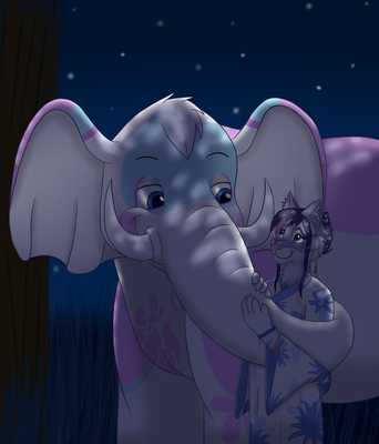 Moment Under the Moon_Commission For Firelilly by SolitaryGrayWolf