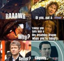 Bilbo offers Smaug Snickers by Omnipotrent