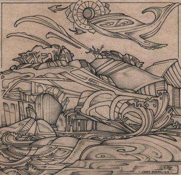Sandstone, Waves, Whales (ink) by lauraborealisis
