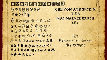 Oblivion and Skyrim Map Marker Brush Set by WinstontheButterfly