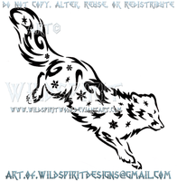 Arctic Fox Snowflake Tribal Design by WildSpiritWolf