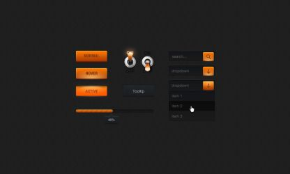 Orange web elements pack 1 by Shegystudio