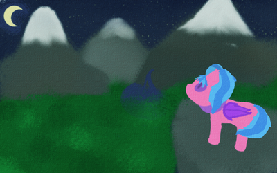 Mountains at night with pony by DarkBachuru