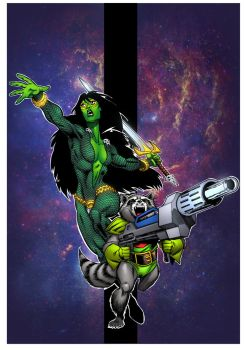 Gamora and Rocket Raccon Classic by krissthebliss