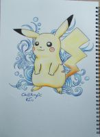 Pikachu with blue background by ChillAcrylic