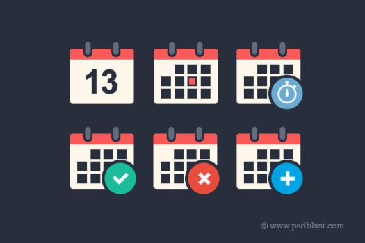 Flat Calendar Icon Set (PSD) by psdblast