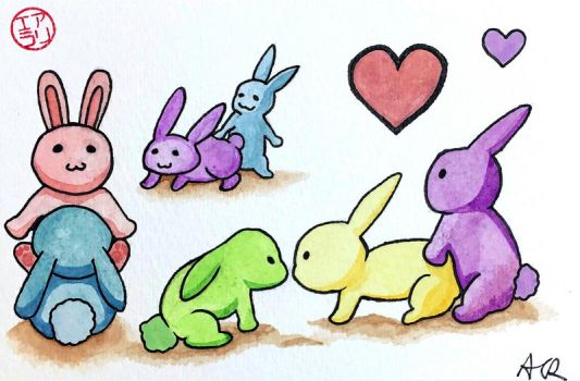 Like Rabbits - Watercolor Card and Sticker Set by ColaChu