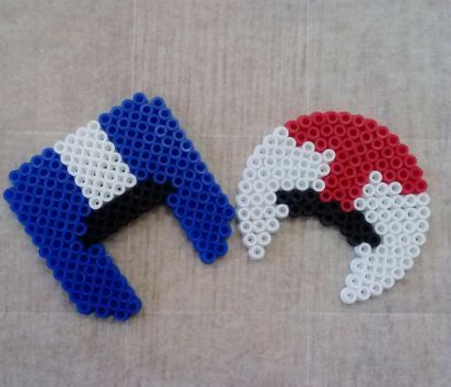 Turbo and TurboTwin Perler Bead Helmets by Goldbryn