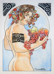 Portrait of a guy with fruits art nouveau by Musyupick