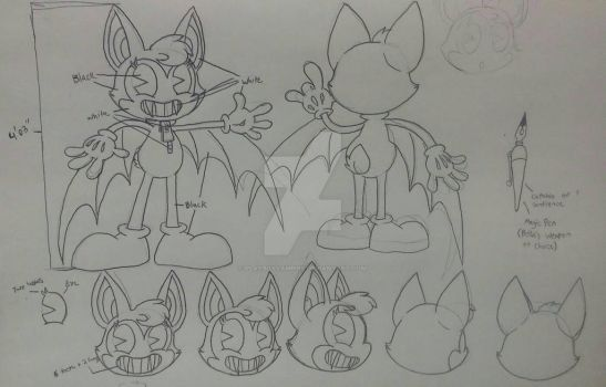 Bella the Bat reference sheet - Uncolored by PlayboyVampire
