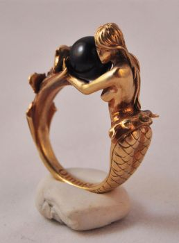 Arianna mermaid ring in brass by kerinewton