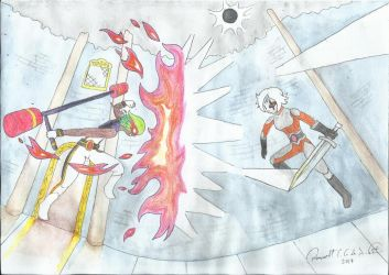 Watercolor - Fight Scene by Axe-Canabrava