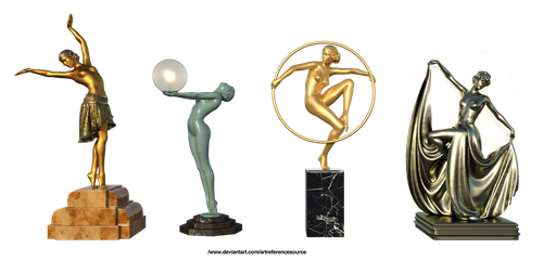 Free Stock PNG:  4 Art Deco Statuettes by ArtReferenceSource