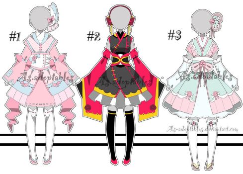 Kimono outfit adoptable batch open by AS-Adoptables