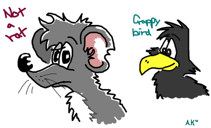 Not a rat and crappy bird by Moonmike