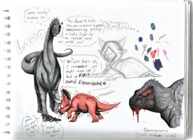 The Revengeasaurus and a Giga by CoffeeAddictedDragon