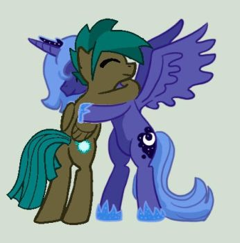 Luna hugs My OC Comet Dust by rnko26