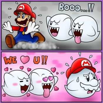 Boos hate and love Mario!! :D by SuperLakitu