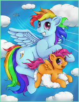 Just Rainbow Dash and Scootaloo by nezudomo