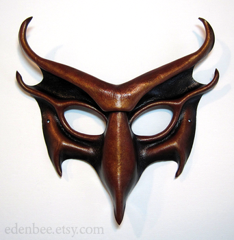 Devil leather mask in black, red and gold by shmeeden