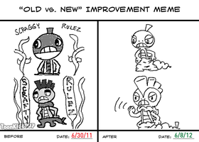 Old vs. New Improvement Meme - Very first drawings by MrNerdling