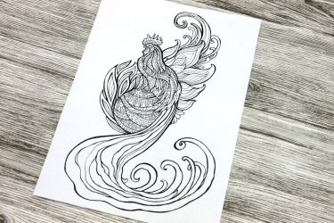 Rooster 2017 Colouring Page by hontor