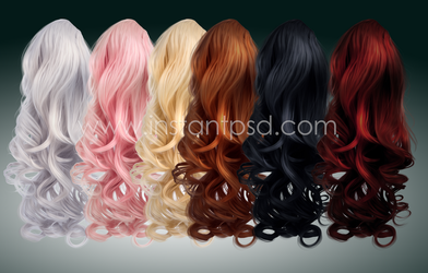 Elegant Curls - Instant Hair PSD x 6 colours by MakeMeMagical