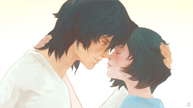 scene from Wolf Children Ame and Yuki (paint over) by gawki