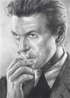 David Bowie Smoking Pencil Portrait by JonARTon