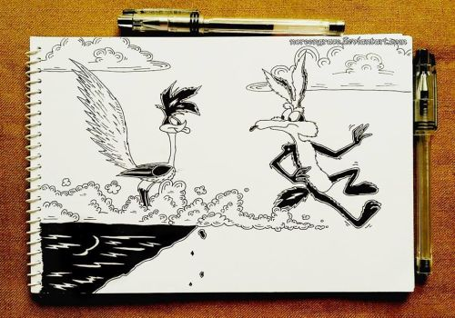 Roadrunner and Coyote (Swift) (Inktober 2017: #1) by NoreenGrace