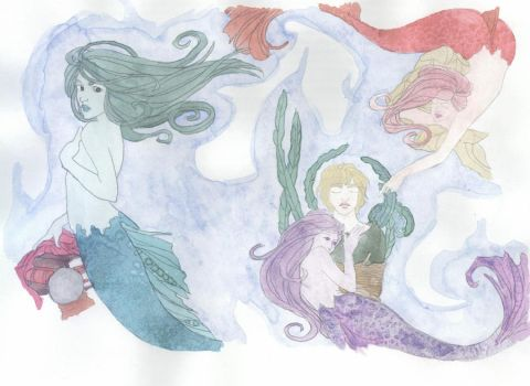 mermaids in watercolor by kumoriNox