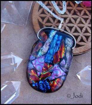 Thunder Lights - Fused Glass Pendant by andromeda