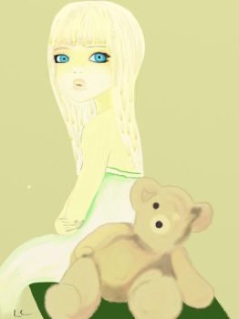 Girl and teddy by Lcandu
