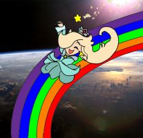 Princess Rosalina on a Space Rainbow by Ultraviolet-Oasis