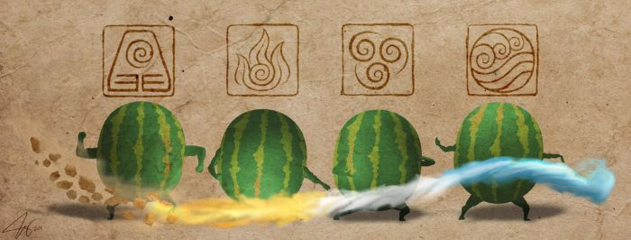 The Four Elemelons by chuckie-chan