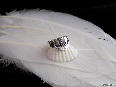 'Sleeping Glaceon', handmade sterling silver ring by seralune